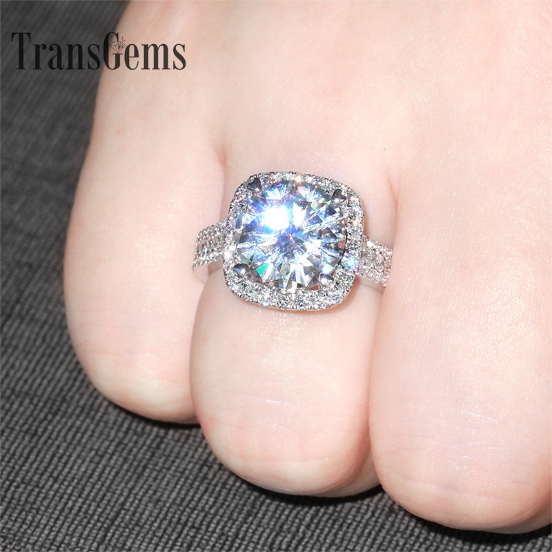 Transgems 5 Carat ct Engagement Wedding Cincin Berlian Moissanite Dengan Aksen Berlian Lab Asli 14 K 585 Emas Putih