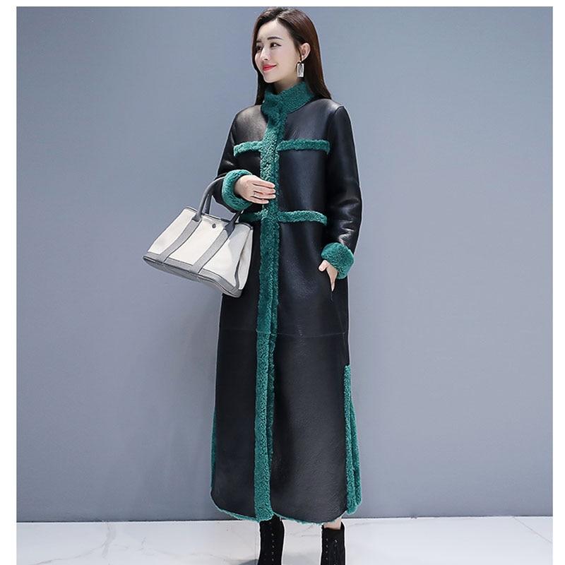 Women Lamb Fur Coat 2019 New Winter Plus Size Loose Long Fur Coat Two Side Wearing   Suede   Maix Furry Jacket Faux   Leather   Fur Coat