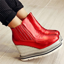 Women Slip On Cow Leather High Heel Wedding Party Pumps Shoes Top Wedges Platform Oxfords Casual Punk Creepers