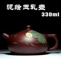 Yixing genuine teapot master all handmade Zisha pots raw materials purple mud painted jade milk teapot wholesale special