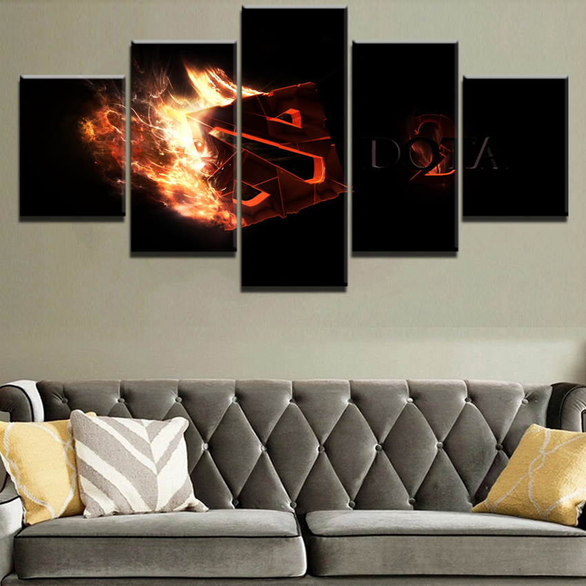 Modern HD Printed Painting Canvas Home Decorative 5 Panel DotA 2 Fire <font><b>Logo</b></font> Game <font><b>Poster</b></font> Modular Framework Wall Art Pictures image