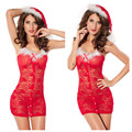 Christmas Dress Sexy Red Lace Latex Mini Dress Luru Transparent Party Wear Nightwear See Through Lingerie Erotic Teddies  Women