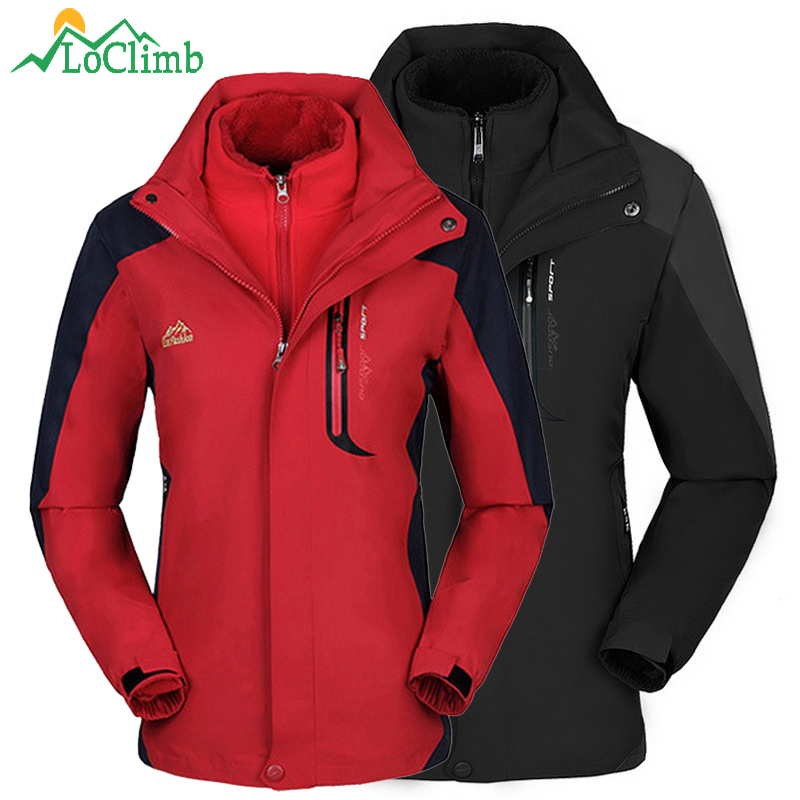 все цены на LoClimb 3 In 1 Camping Hiking Jacket Men Women Winter Fleece Coat Trekking Sport Men's Windbreaker Waterproof Ski Jackets AM259