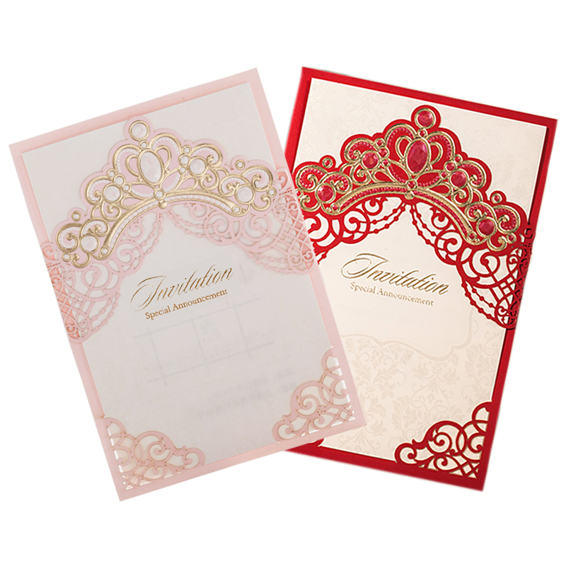 [Princess Dream] Gold Crown Laser Cut Elegant Wedding Invitations 50pcs, Blank Invitation Card with Envelopes for Quinceanera