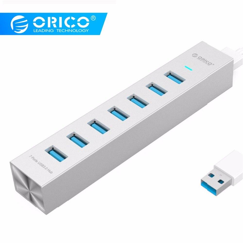 Moyeu USB 7 Ports en aluminium ORICO moyeu USB3.0 haute vitesse jusqu'à 5Gbs répartiteur Usb HUB Usb avec adaptateur secteur pour moyeu usb d'ordinateur