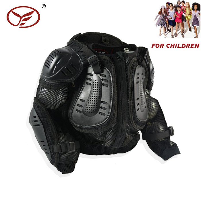 Junior Body protector Motocross Motorcycle Kids Youth Full vest Armor Jacket Spine Chest Protection Gear Black