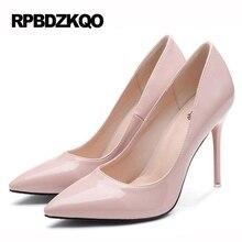 Большой Размеры женские высокий каблук Насосы офисные открытые туфли ультра супер 3 дюймов scarpin лакированная кожа Трансвестит 33 11 43 острым