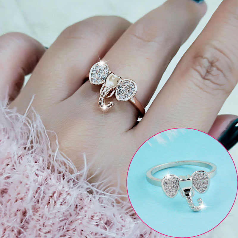 SINLEERY Bohemia Cubic Zircon Stone Elephant Rings Rose Gold Silver Color Women Fashion Animal Jewelry JZ431