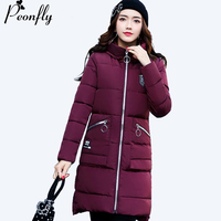 PEONFLY 2017 Medium Long Winter Coat Women Simple Style Parka Thick Warm Hooded Winter Jacket Women