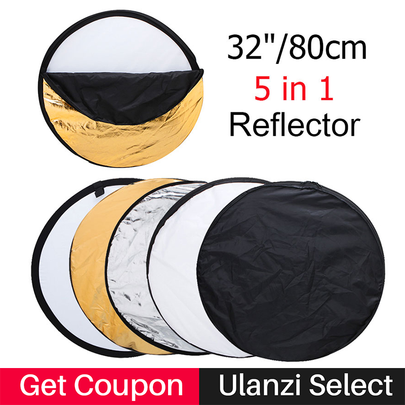 Ulanzi 80cm 32 Round Photography Reflector 5 in 1 Collapsible Multi-Disc Studio Light Reflector with Zipped Round Carrying Bag