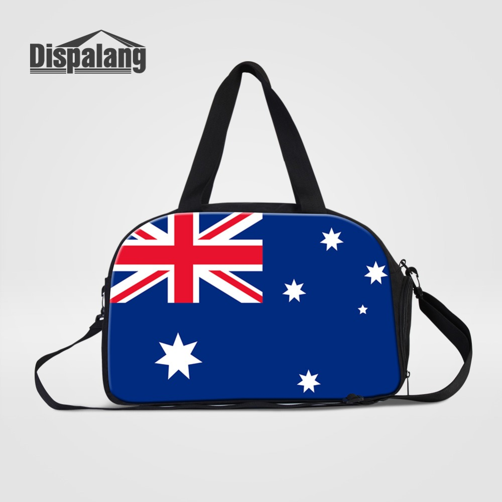 Dispalang National Flag Series Travel Bags Men Hand Luggage Duffle Bag With Shoes Pocket Student Weekend Bag Boy Shoulder Duffel