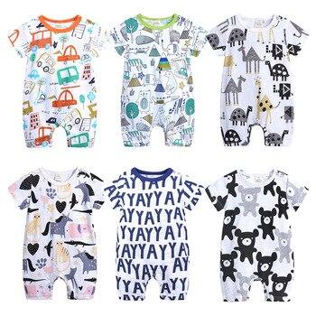 2019 مولود جديد الفتيان الفتيات الكرتون الملابس الصيف رقيقة قصيرة الأكمام السروال القصير الرضع الحيوان ازياء الطفل بوتيك الملابس