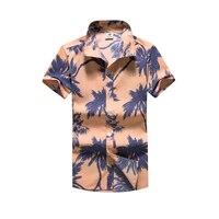 Printing Casual Shirt Men Short Sleeve Polyester Hawaii Beach Shirts Hawaiian Loose Big Sizes Mens Brand