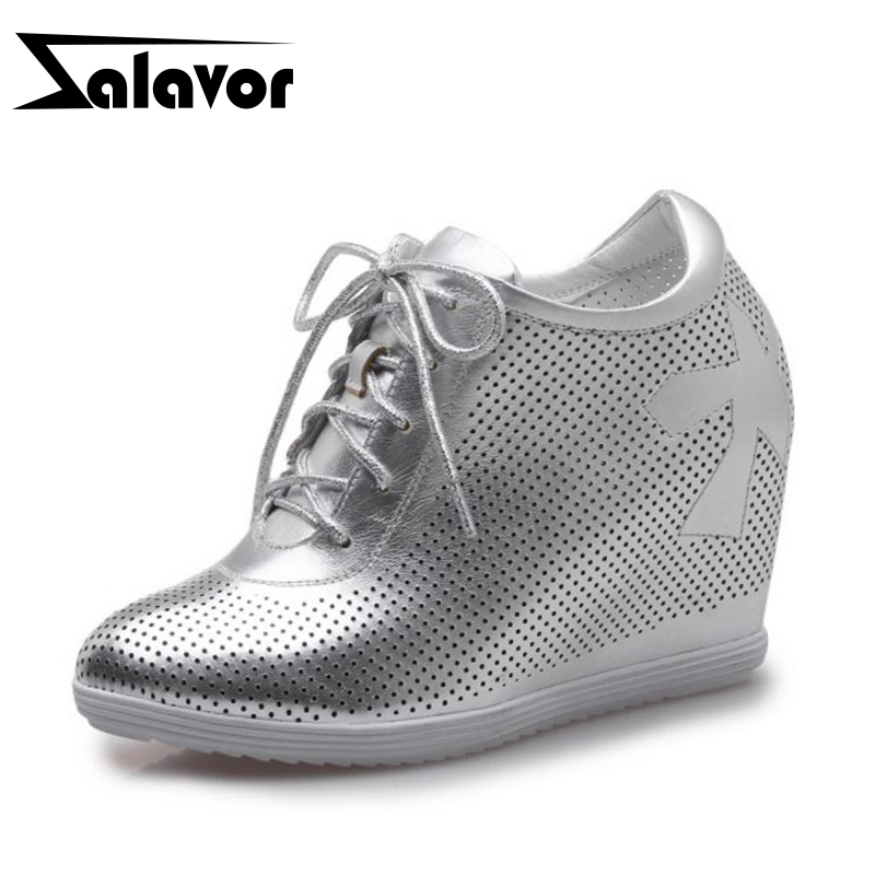 ZALAVOR Simple Women Real Genuine Leather Inside Heel Pumps Cross Strap Hallow Out High Wedges Shoes