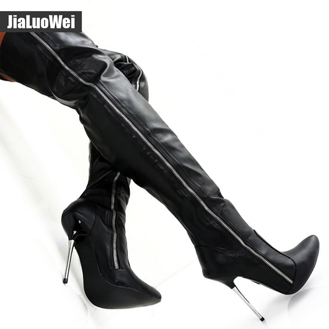 Jialuowei Extreme High Heel 12Cm Over The Knee Boots Black -8401