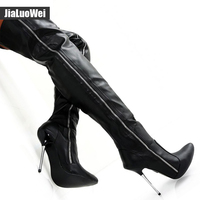 Jialuowei Extreme high heel 12cm Over-the-Knee boots black matt thigh high boots sex fetish Pointed Toe stiletto crotch Shoes