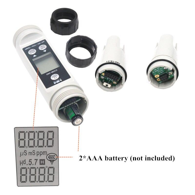 HM COM 360 4 en 1 ph mètre EC/TDS/PH/TEMP étanche combo LCD numérique portable ATC calibrage des données de maintien outitester40 % OFF - 4