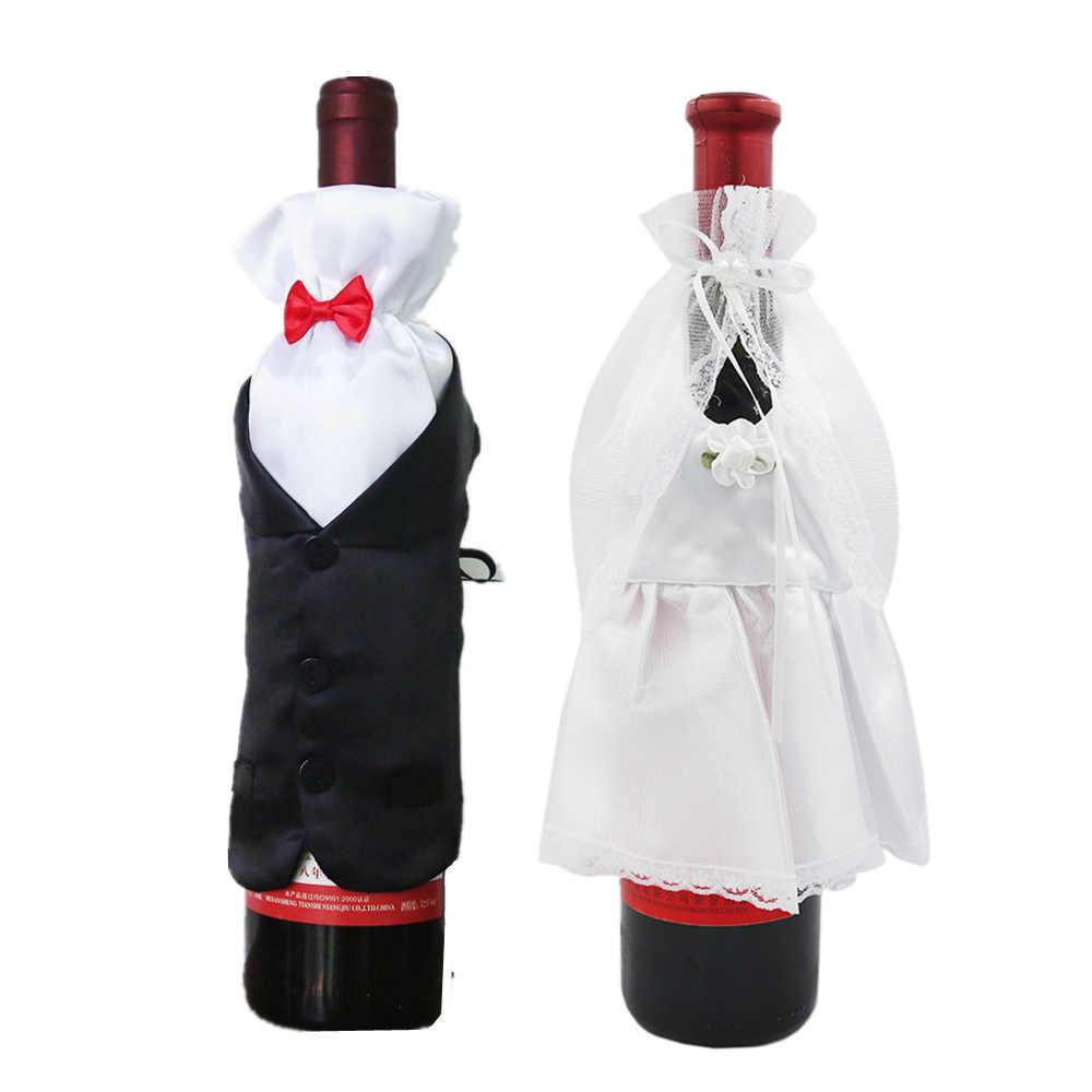 1 комплект Свадебные торжества DIY украшения невесты жениха платье кружки винного цвета обертывания стакан шампанское насадка для бутылок украшения 40% скидка