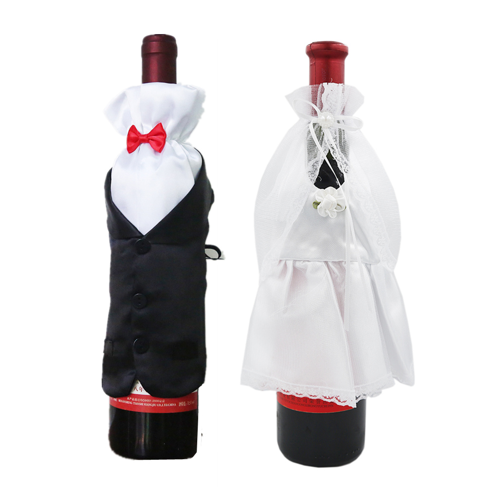 1 Set Wedding Party Events DIY Decorations Bride Groom Dress Wine Cups Wraps Glass Champagne Bottles Cover Ornaments 40% off1 Set Wedding Party Events DIY Decorations Bride Groom Dress Wine Cups Wraps Glass Champagne Bottles Cover Ornaments 40% off