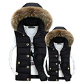 2016 New Casual Thick Warm Waterproof Vest Men Winter Slim Fur Collar Hooded Veste Homme