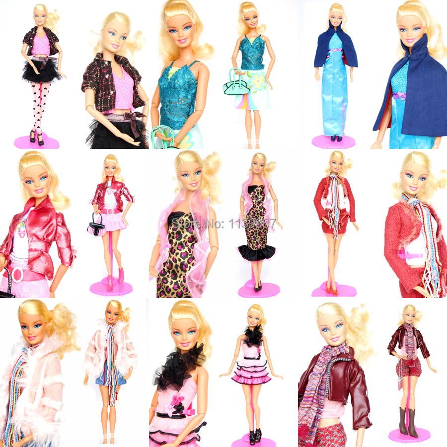 10 sets handmade gorgeous doll outfit suit clothing fashion tops jeans coat clothes dress accessories for