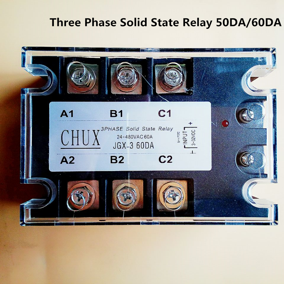 in a free state free shipping 60A Three Phases 220v voltage Solid State Relay SSR DC control AC (ZG33-60DA)