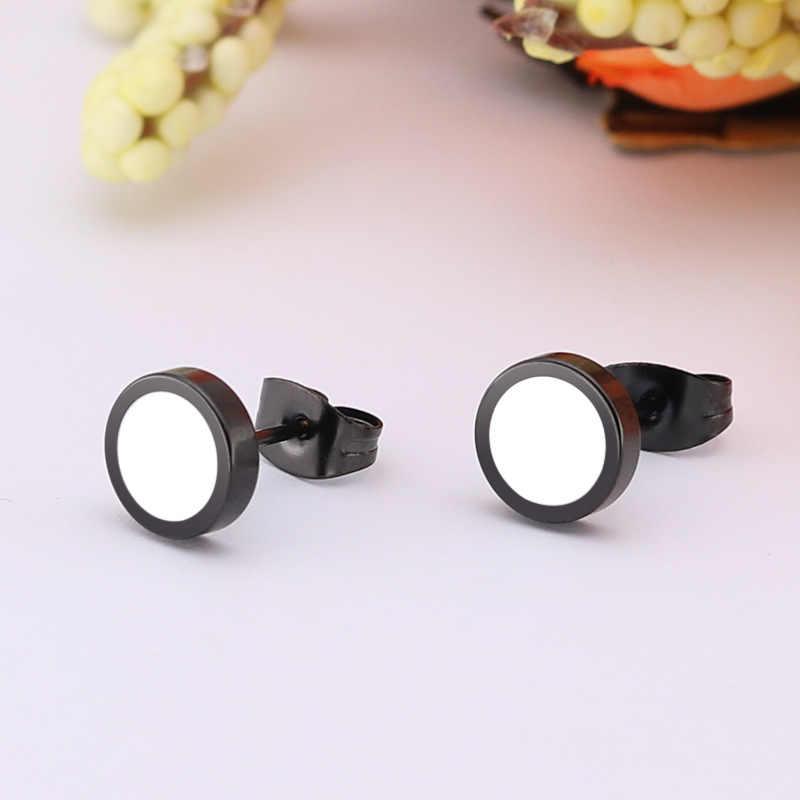 3 cores na moda 12 styl titânio aço gotas óleo parafuso prisioneiro brincos redondo prata cor botão preto centro presente para homem acessórios