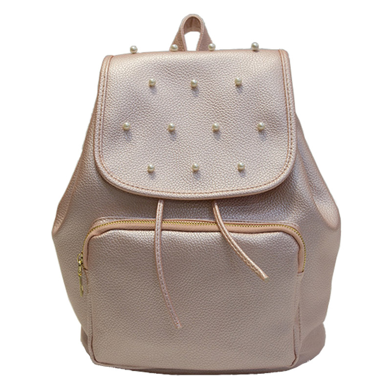 New Arrival Korean Pu Leather Solid Shoulder Bag Preppy Style Beading Backpack Travel School Rucksack Fashion