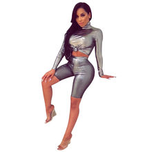 2d409afa7f5 Sexy Clubwear Party Two Piece Sets Women Autumn Long Sleeve Turtleneck Crop  Top and Short Pants 2 Piece Outfits Matching Sets