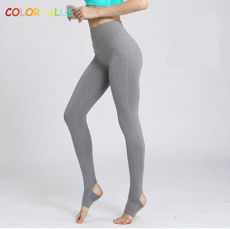 Colorvalue Haute Flexible Solide Yoga Pantalon De Pieds Femmes Élargir Ceinture Danse De Remise En Forme Leggings Anti-sueur Nylon Gym Workout Collants