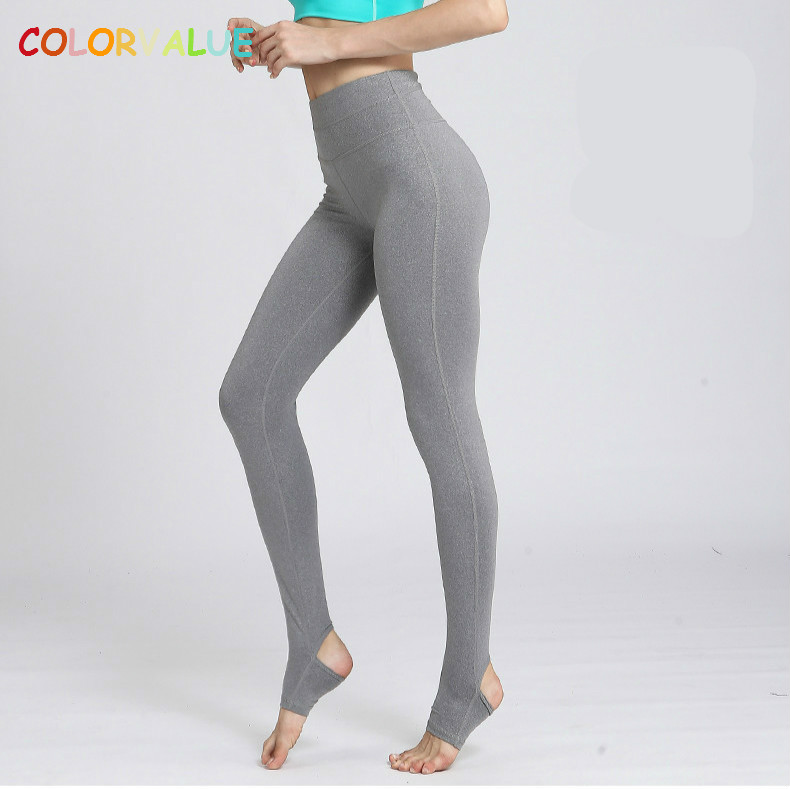 d96e2dc7afe3a Detail Feedback Questions about Colorvalue High Flexible Solid Yoga Foot Pants  Women Widen Waistband Dance Fitness Leggings Anti sweat Nylon Gym Workout  ...