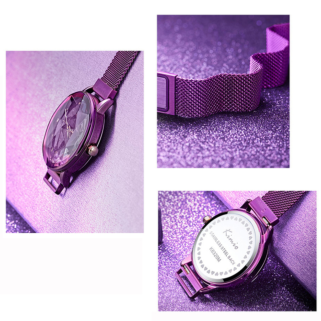 KIMIO Brand Luxury Ladies Magnet Suction Clasp Watch For Women Crystal Star Dial Dress Watches Stainless steel Mesh Belt Watch