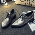 Patent leather oxford shoes for women pointed toe flats handmade shoes woman US size 8 vintage 2017 sping black grey blue fur