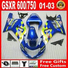 Kit carenagem da alta qualidade para 2001 – 2003 brilhante azul amarelo SUZUKI GSXR 600 750 K1 # GHB GSX R600 R750 01 02 03