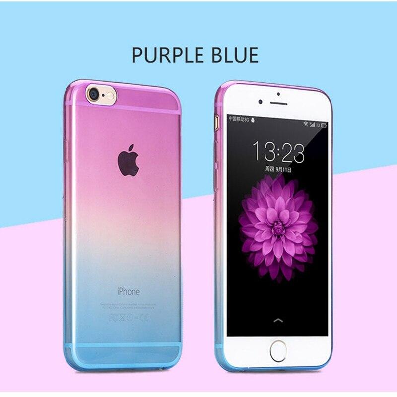 big sale a04dd b19ad US $1.79 |FRVSIMEM Gradual Change Transparent Gradient Color Soft Back Case  Rubber Cover For Apple iphone X 10 5 5s SE 5SE 6 6s 7 8 Plus-in ...