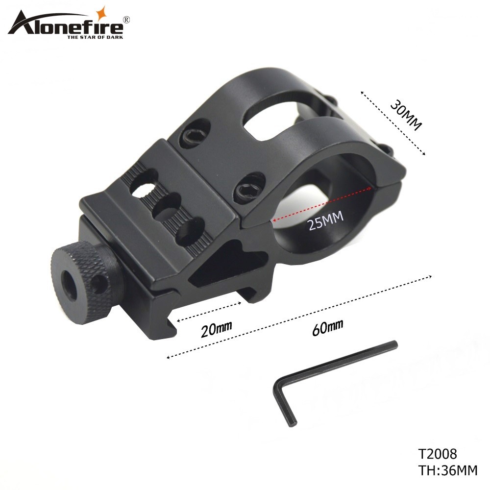 AloneFire 25mm Scope Mount Flashlight Torch Laser Mounts Tactical Scope Sight For 20mm Standard Picatinny/Weaver Rail