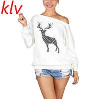 KLV Christmas Deer Women Fashion Saxy Loose Pullover Off One Shoulder Sweatshirt Deer Print White Pullovers
