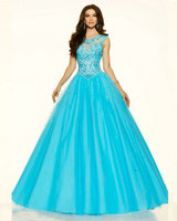 Style 98063 Coral Burst Cotton Candy Scuba Blue Tulle Ball Gown Prom Dresses Cap Sleeve Corset