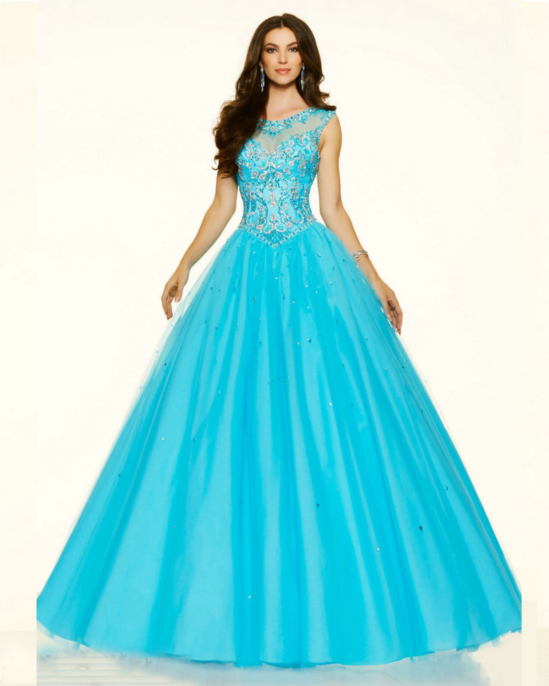 Style 98063 Coral Burst Cotton Candy Scuba Blue Tulle Ball