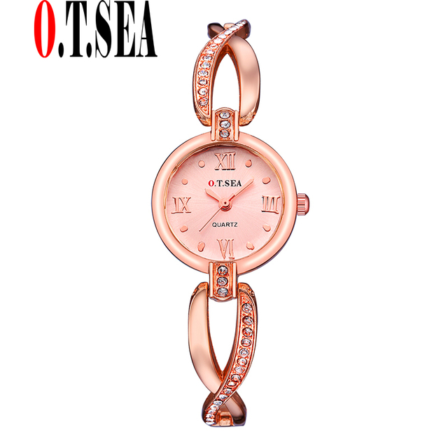 2017 New Fashion O.T.SEA Brand Rose Gold Bracelet Watches Women Ladies Crystal D