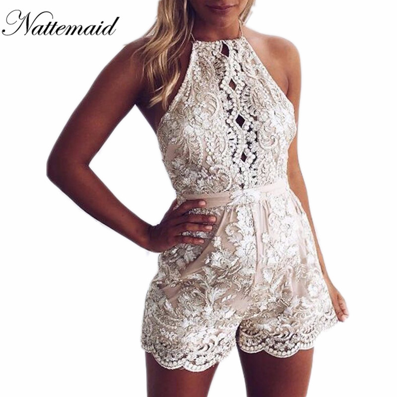 2cb71d714a NATTEMAID Sexy Gold Lace Bodysuit Women Mesh Jumpsuit Rompers 2017 Halter  Neck Outfits One Piece Bodysuits For Women Overalls