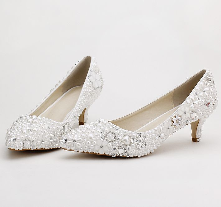 ФОТО White pearls crystal pumps shoes womens med thin heels point toes bridal shoes white crystal female ladies party shoes TG836
