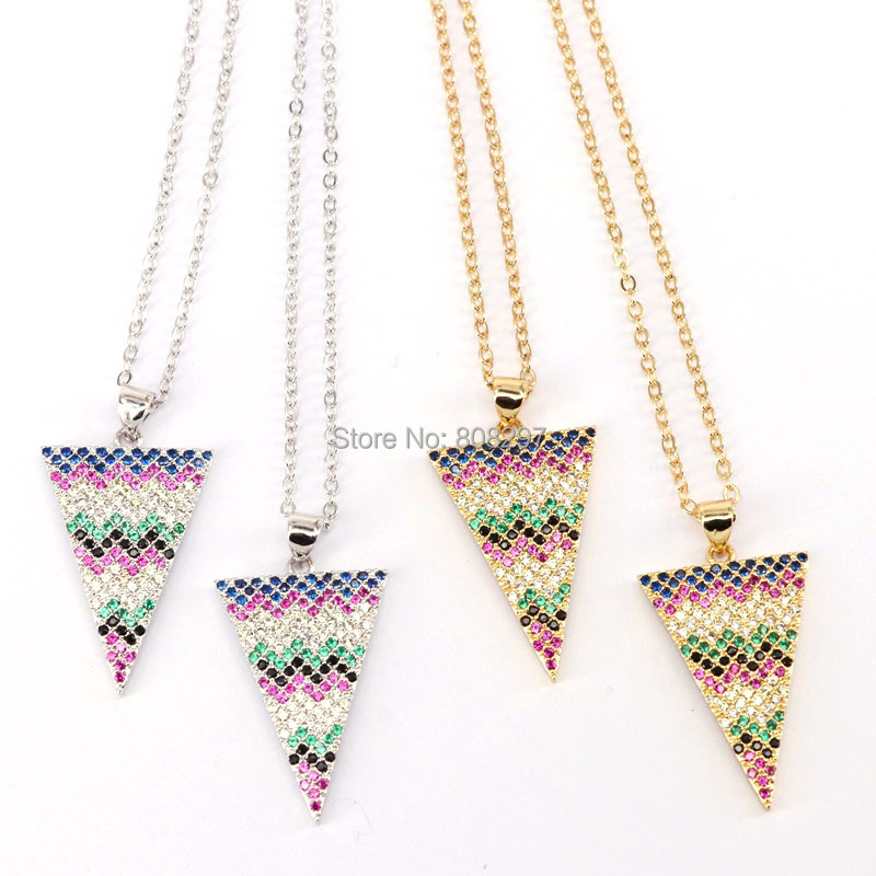 10Pcs Fashion Jewelry Micro Pave CZ Zircon Triangle Charm Pendant Chain Necklace