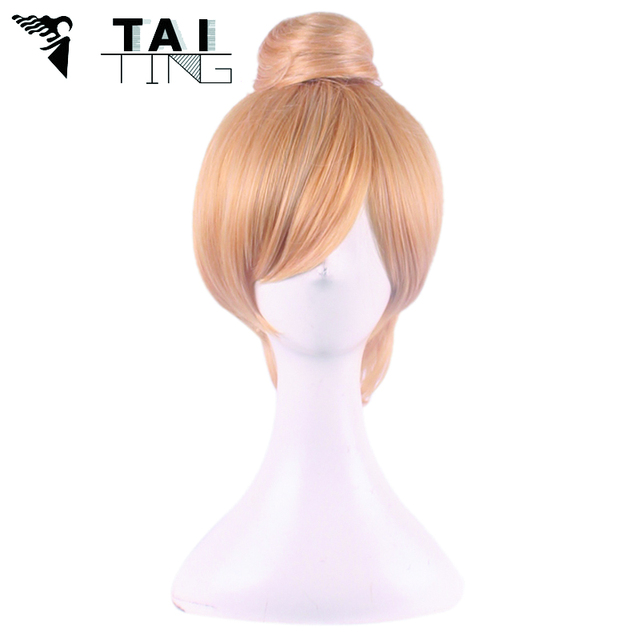 Blonde Cosplay Wig Fairy Tinker Bell Full hair Wig Princess Tinkerbell Adult Size cheap Synthetic High Temperature Fiber Hair