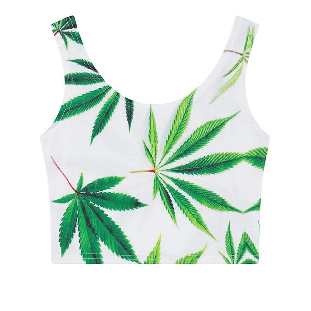 cde9f12d6fa2fd Bamboo Printed Green Leaf Summer Casual Women Cami Tank Vest Sleeveless  High Neck T-Shirt Cartoon Crop Top