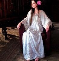 Original Design Women Elegant Spring Summer Vintage&Retro Luxury Silk Lace Embroidered Expansion Bottom White / Blue Long Dress