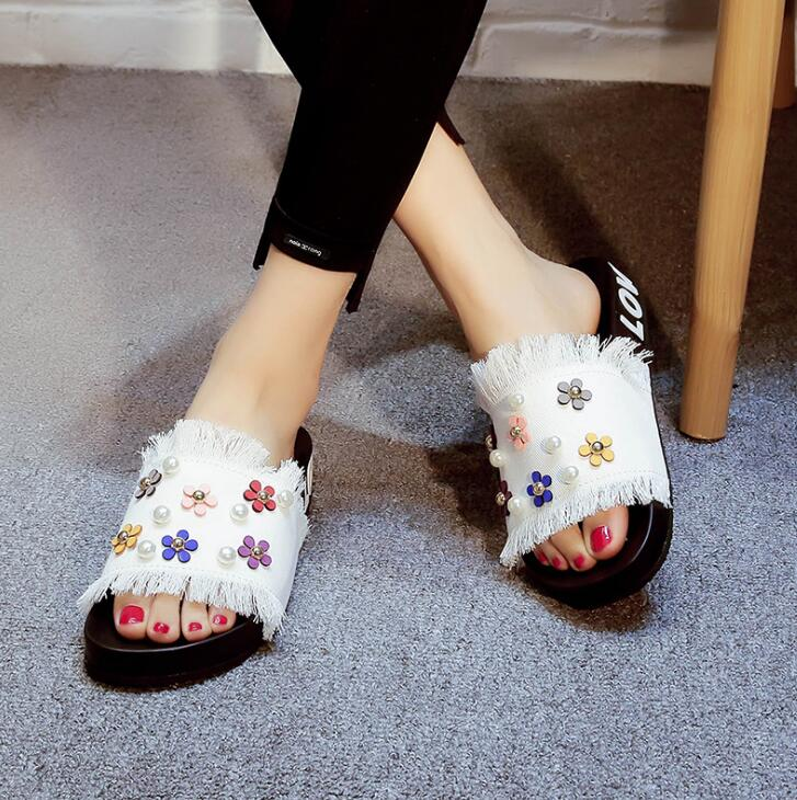 5af21915aabc Summer Slipper Sandals Denim Cloth Slipper wedges Flat Thick Heel Slides  Flowers Ornamental Pearls DIY Decoration Slipper-in Slippers from Shoes on  ...
