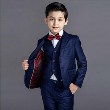 KUSON Boys Suits for Wedding Navy Blue Formal Costume for Kids Childrens Classic Two Button Blazer (Jacket+Pants+Vest) 3Pcs