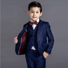 KUSON erkek takım elbise düğün lacivert resmi kostüm çocuklar için çocuk klasik iki düğme Blazer (ceket + pantolon + yelek) 3 adet