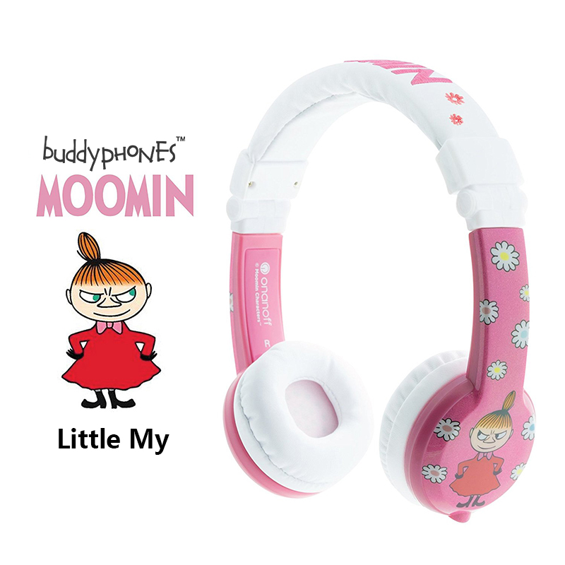 ONANOFF BuddyPhones MOOMIN Headphones Kids Safe Volume Limiting Wired Headsets Cartoon Cute Children Earphones With Microphone onanoff buddyphones explore professional children kids headsets safety volume limiting headphones with mic listening earphones